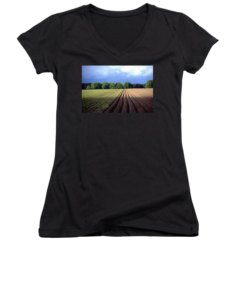 Wendland Women's V-Neck T-Shirt featuring the photograph Wendland by Flavia Westerwelle