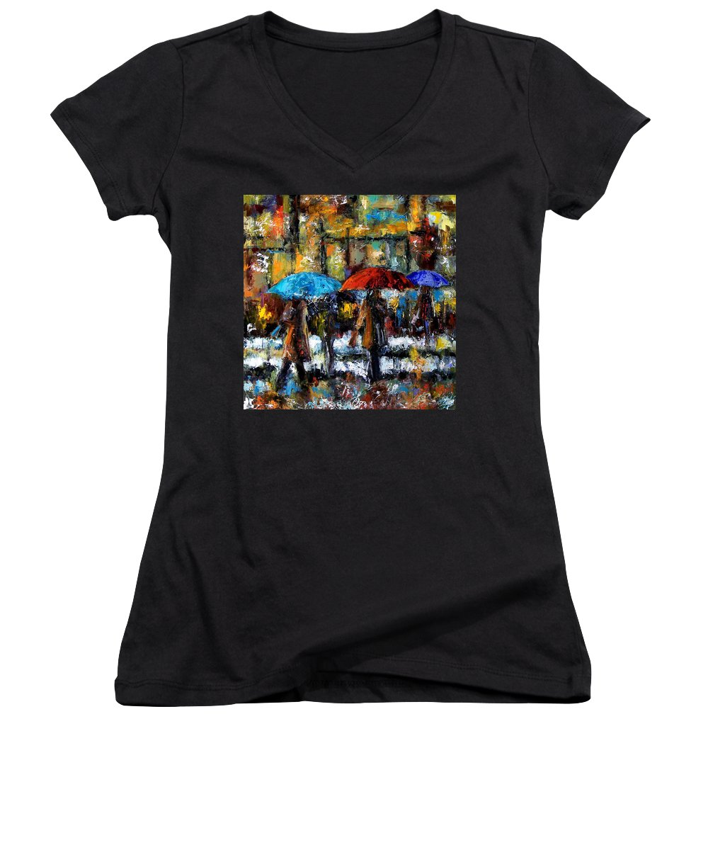 Rainy City Art Women's V-Neck (Athletic Fit) featuring the painting Wet Winter Day by Debra Hurd