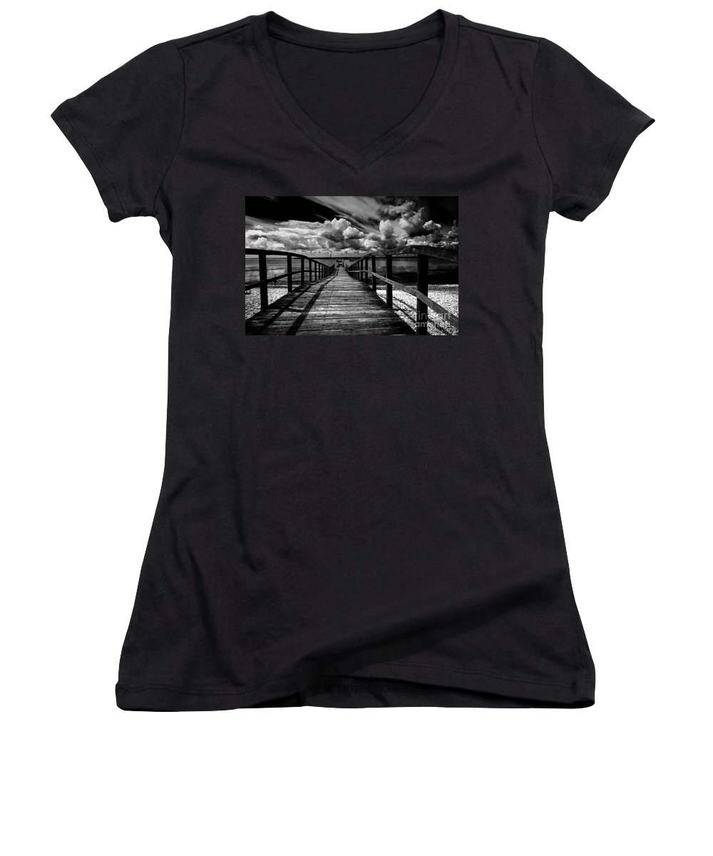 Southend On Sea Wharf Clouds Beach Sand Women's V-Neck T-Shirt featuring the photograph Wharf At Southend On Sea by Sheila Smart Fine Art Photography