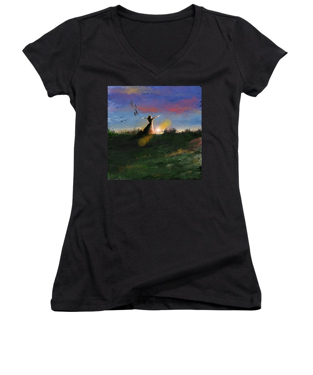 Morning Sunrise Star Woman Nature Sky Clouds Women's V-Neck T-Shirt featuring the mixed media What's The Story Morning Glory by Veronica Jackson