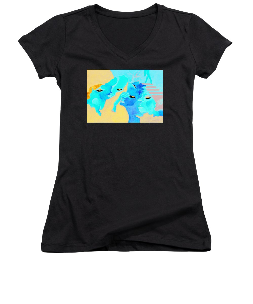 Lost Curious Red Blue People Women's V-Neck T-Shirt featuring the painting Where Was I by Veronica Jackson