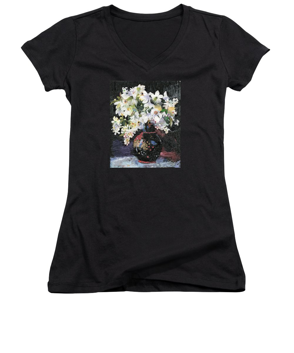 Limited Edition Prints Women's V-Neck (Athletic Fit) featuring the painting White Celebration by Nira Schwartz