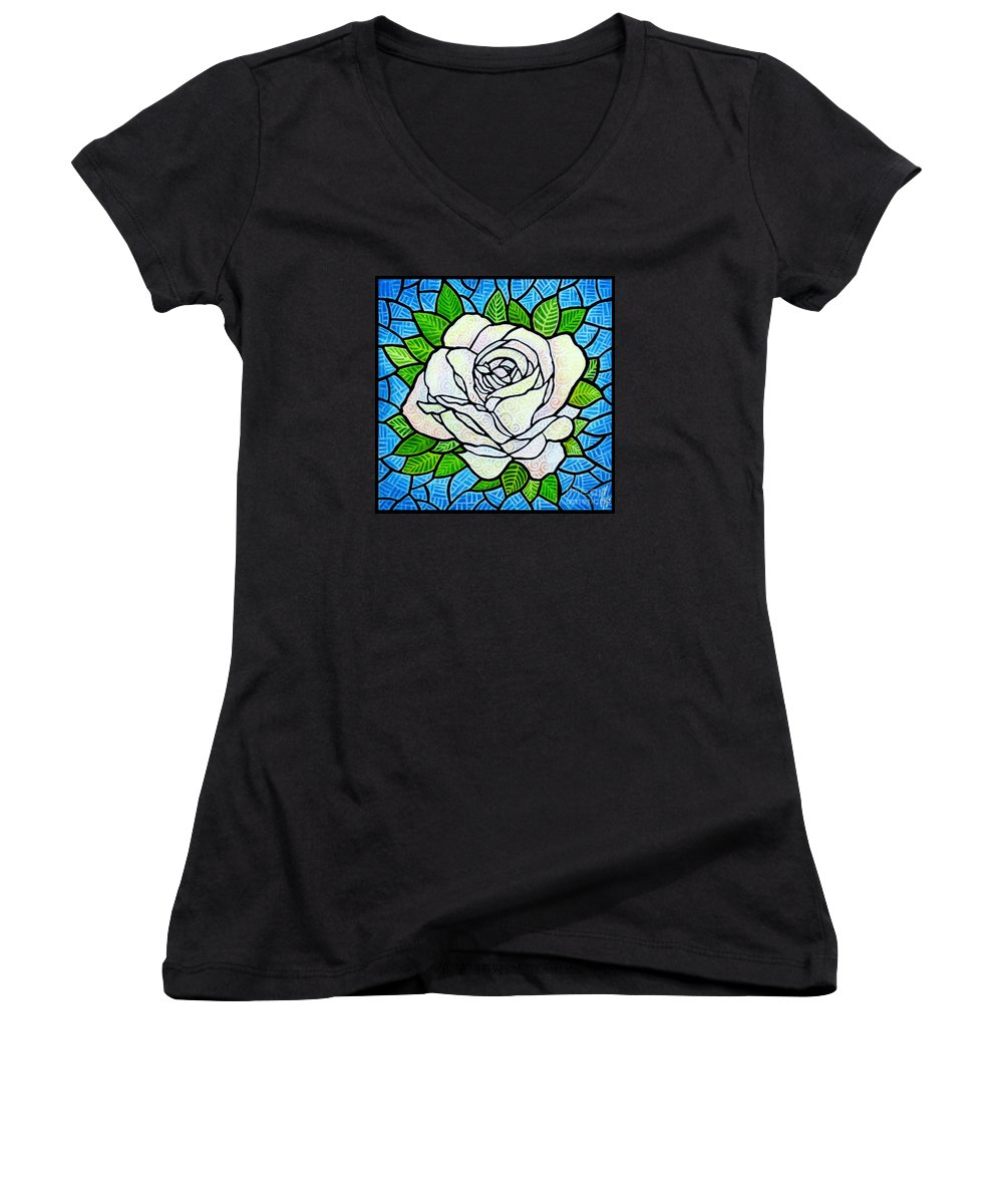 White Women's V-Neck T-Shirt featuring the painting White Rose by Jim Harris