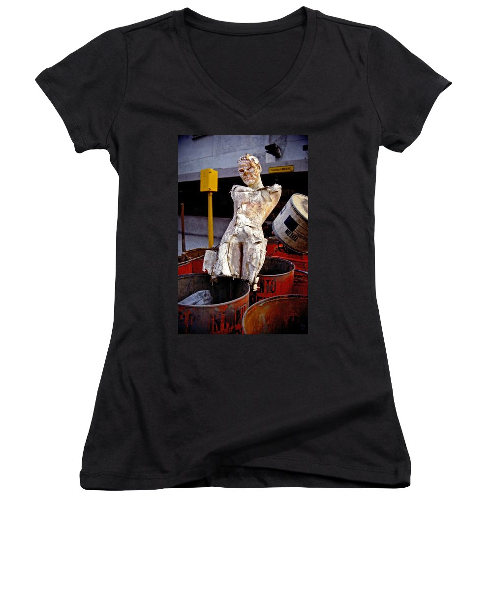 Trash Women's V-Neck T-Shirt featuring the photograph White Trash by Skip Hunt