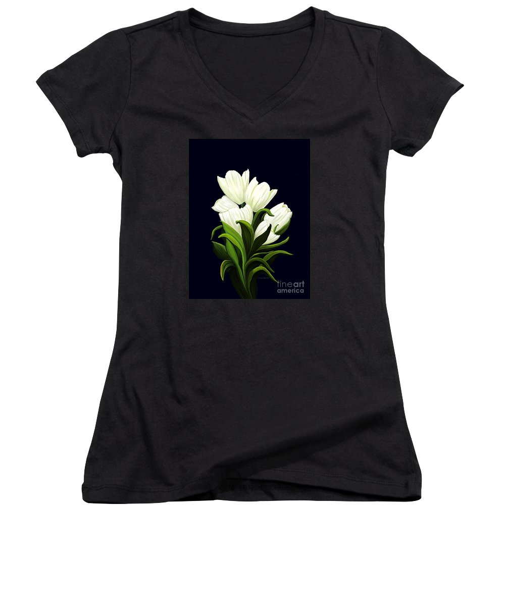 Mixed Media Women's V-Neck T-Shirt featuring the painting White Tulips by Patricia Griffin Brett
