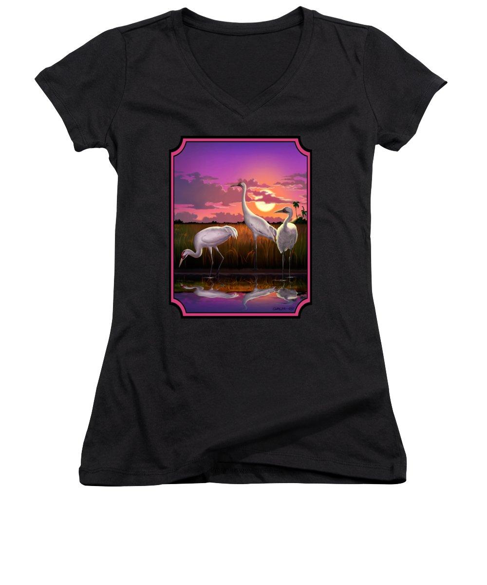 Crane Women's V-Neck T-Shirts