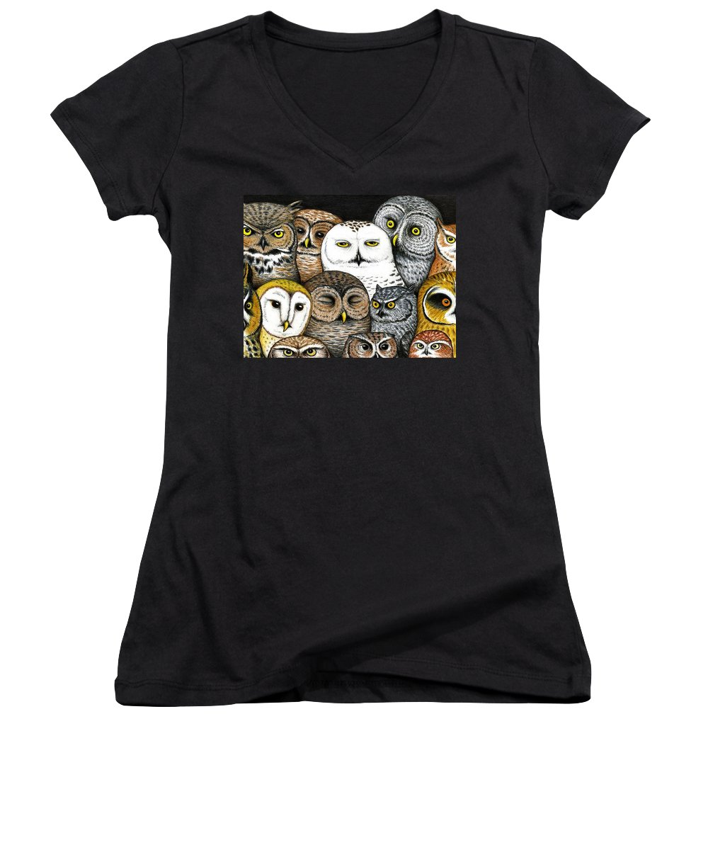 Art Women's V-Neck (Athletic Fit) featuring the painting Who's Hoo by Don McMahon