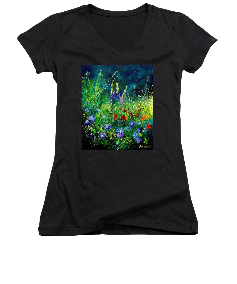 Poppies Women's V-Neck (Athletic Fit) featuring the painting Wild Flowers by Pol Ledent
