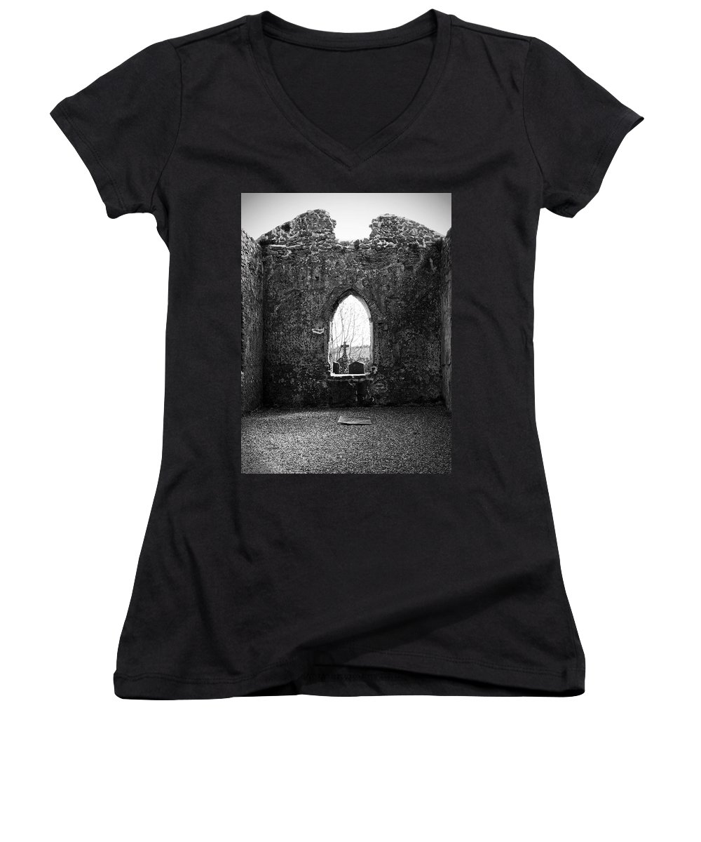 Ireland Women's V-Neck (Athletic Fit) featuring the photograph Window At Fuerty Church Roscommon Ireland by Teresa Mucha