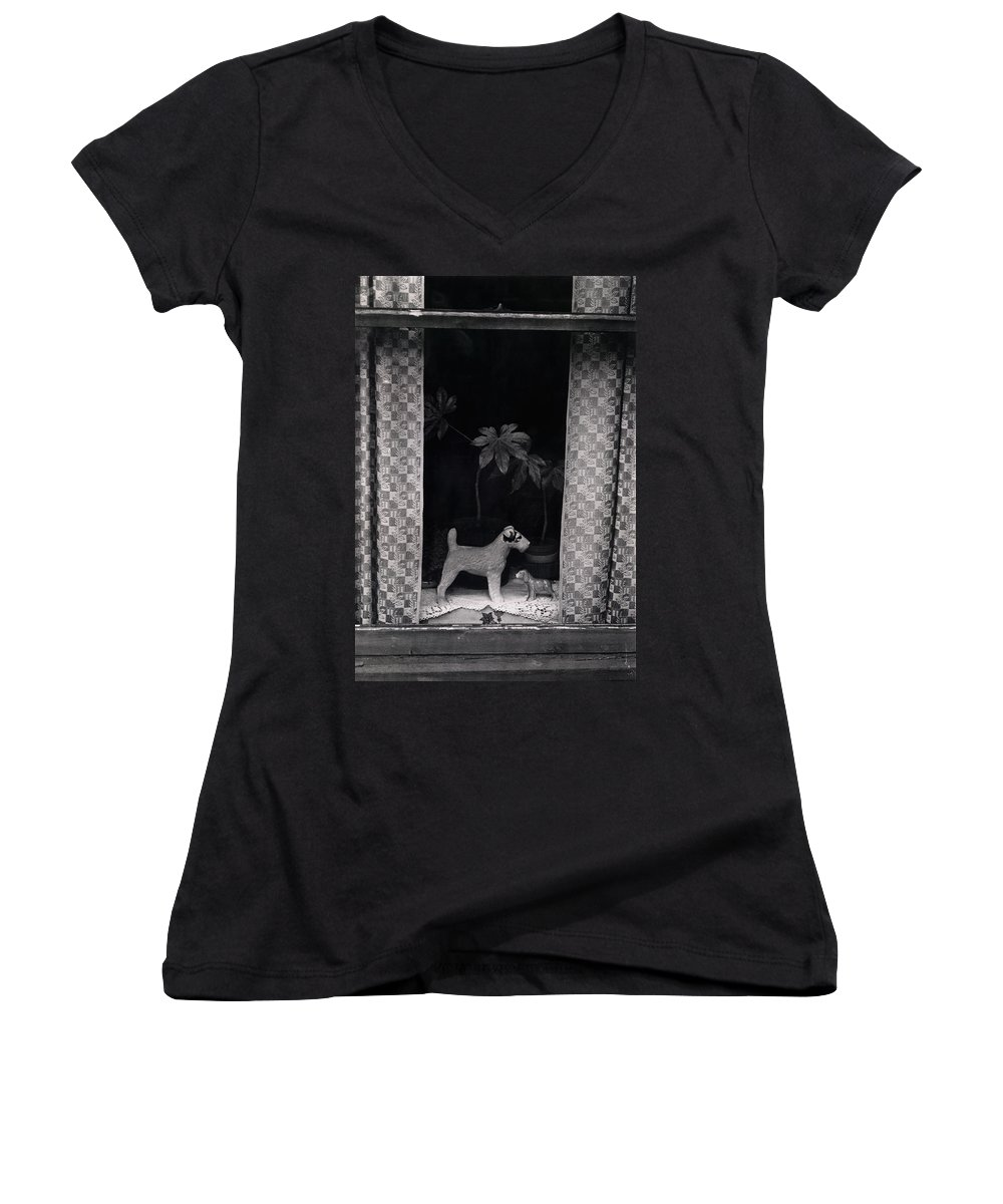 Photograph Women's V-Neck T-Shirt featuring the photograph Window Scene by Charles Stuart