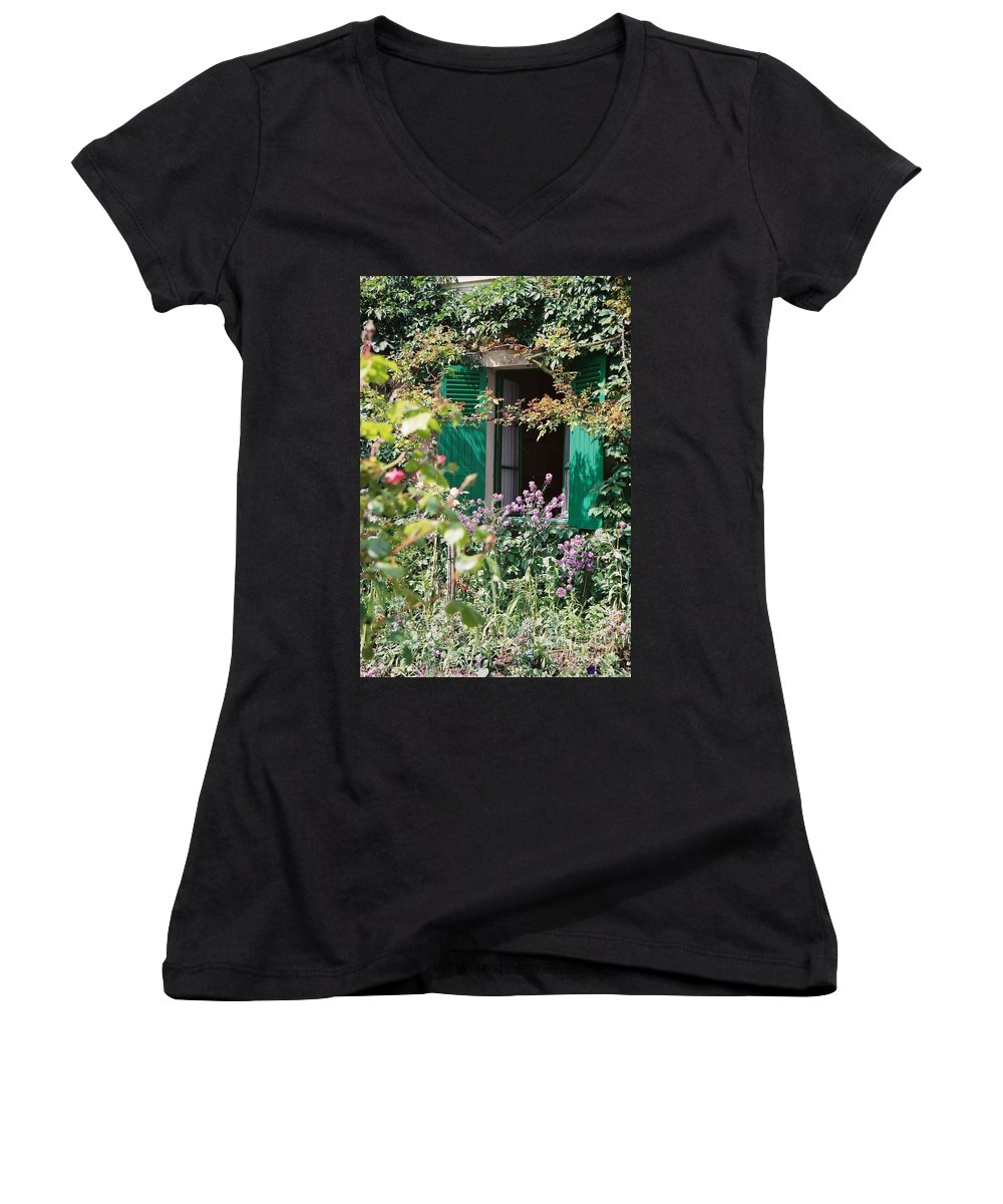 Charming Women's V-Neck T-Shirt featuring the photograph Window To Monet by Nadine Rippelmeyer