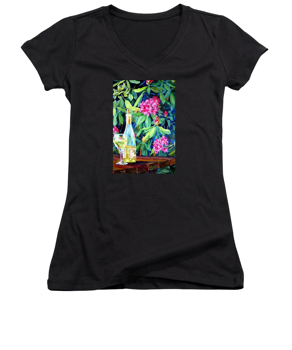 Rhododendron Women's V-Neck T-Shirt featuring the painting Wine And Rhodies by Karen Stark