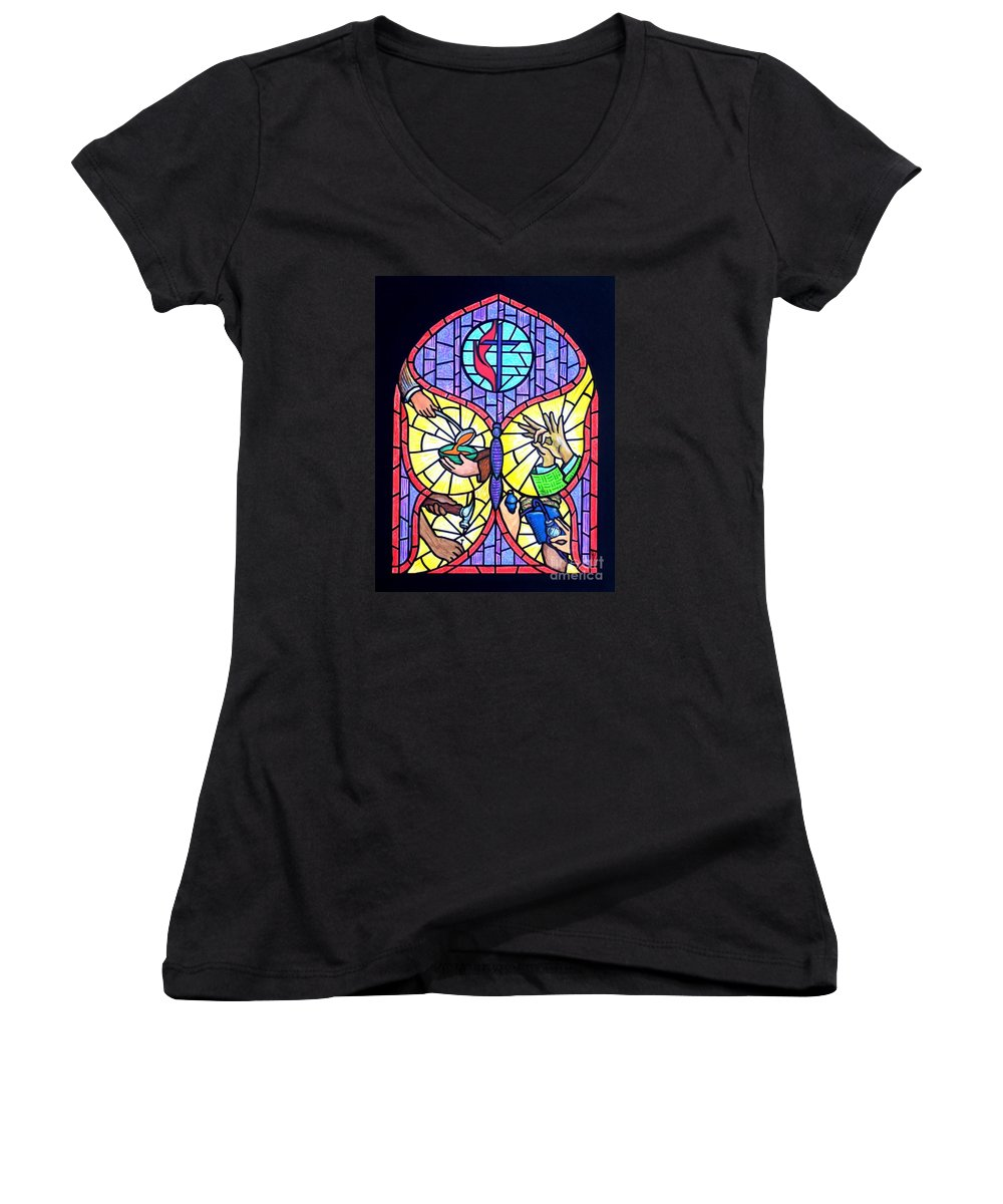 Butterflly Women's V-Neck (Athletic Fit) featuring the painting Wings Of Change by Jim Harris