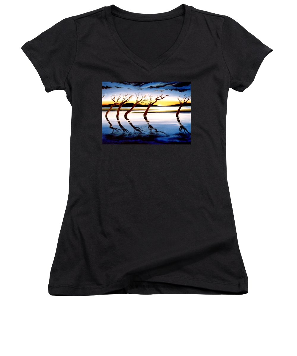 Seascape Women's V-Neck (Athletic Fit) featuring the painting Winter Heatwave by Mark Cawood