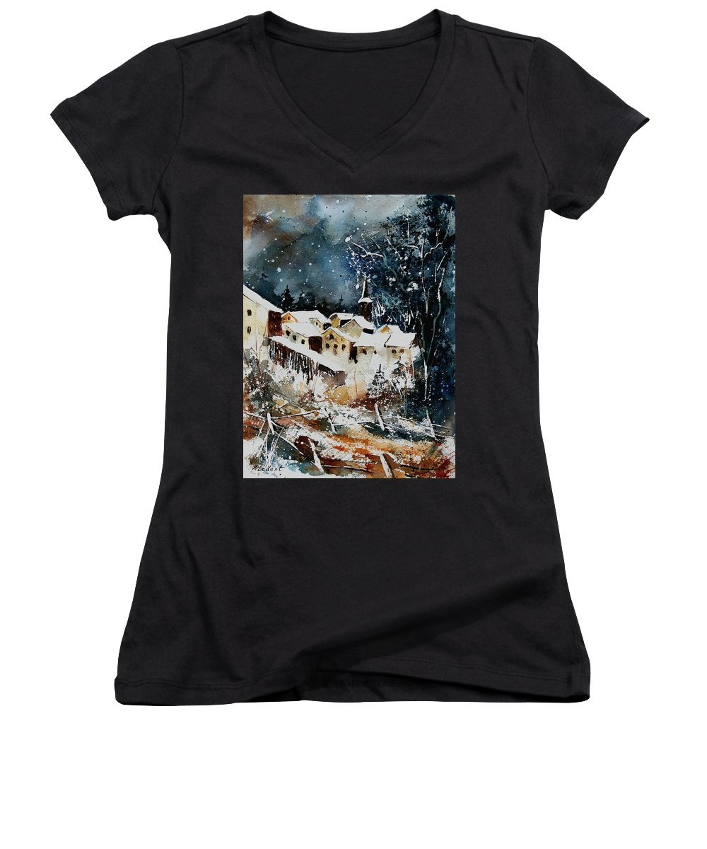 Winter Women's V-Neck T-Shirt featuring the painting Winter In Vivy by Pol Ledent