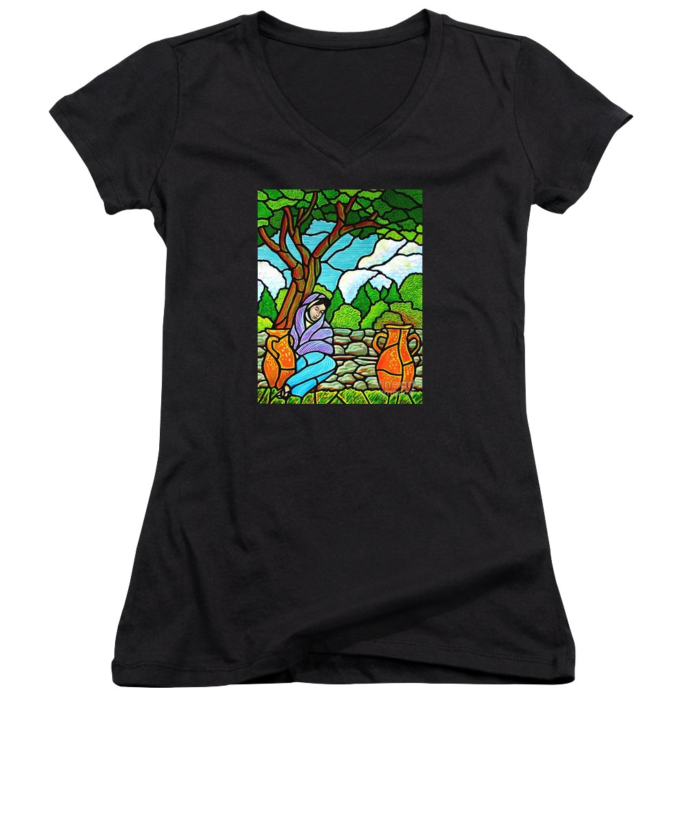 Women Women's V-Neck T-Shirt featuring the painting Woman At The Well by Jim Harris