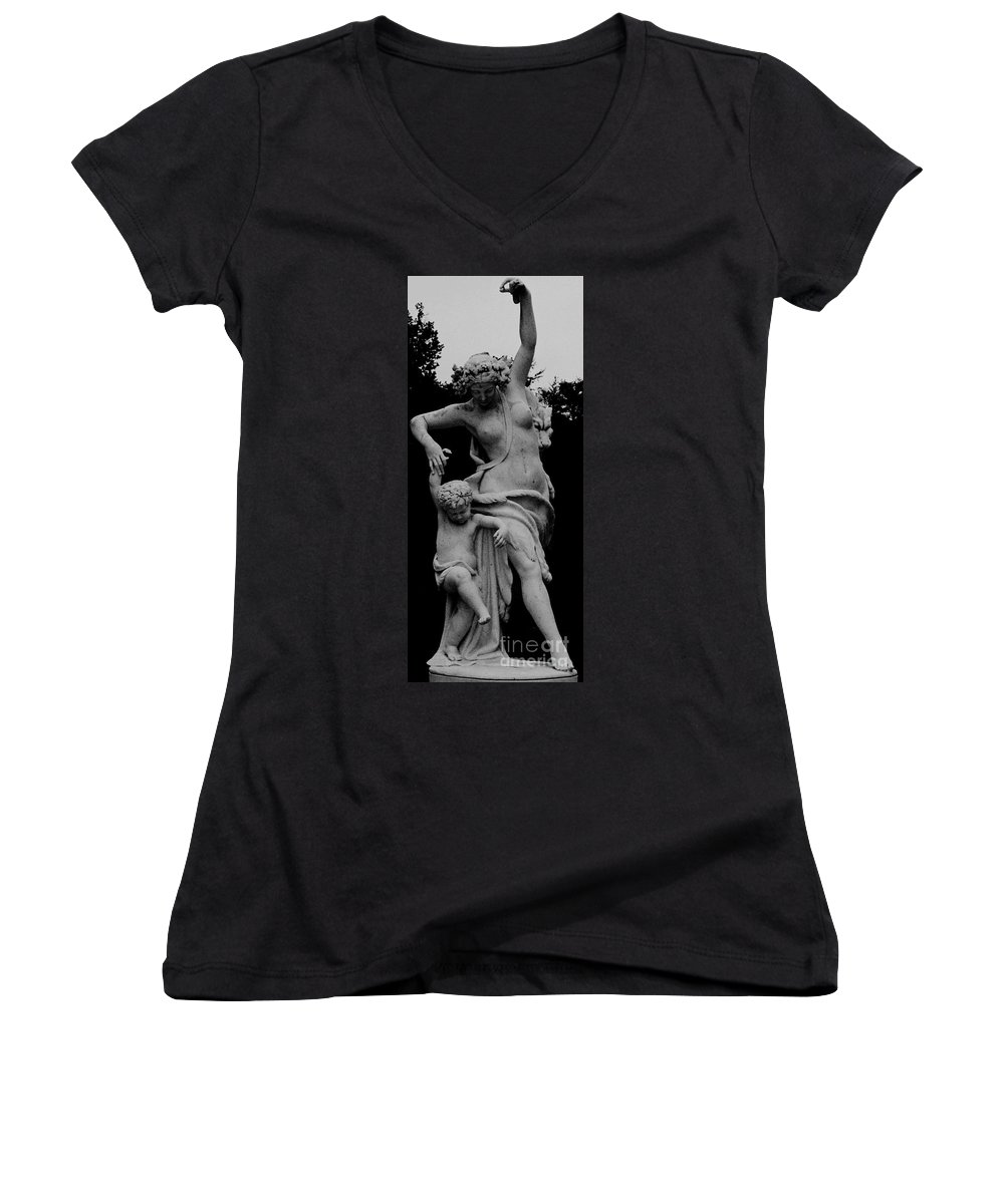 Figurative Women's V-Neck T-Shirt featuring the painting Woman Statue by Eric Schiabor
