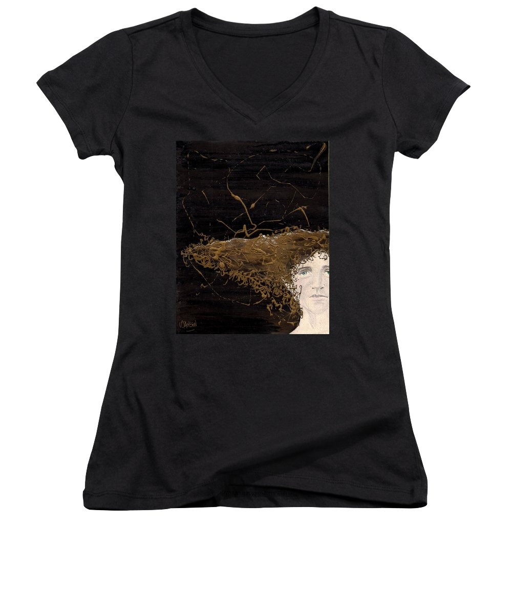Hair Gold Woman Face Eyes Softness Women's V-Neck T-Shirt featuring the mixed media Woman With Beautiful Hair by Veronica Jackson