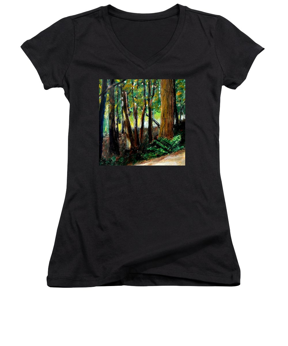 Livingston Trail Women's V-Neck (Athletic Fit) featuring the drawing Woodland Trail by Michelle Calkins