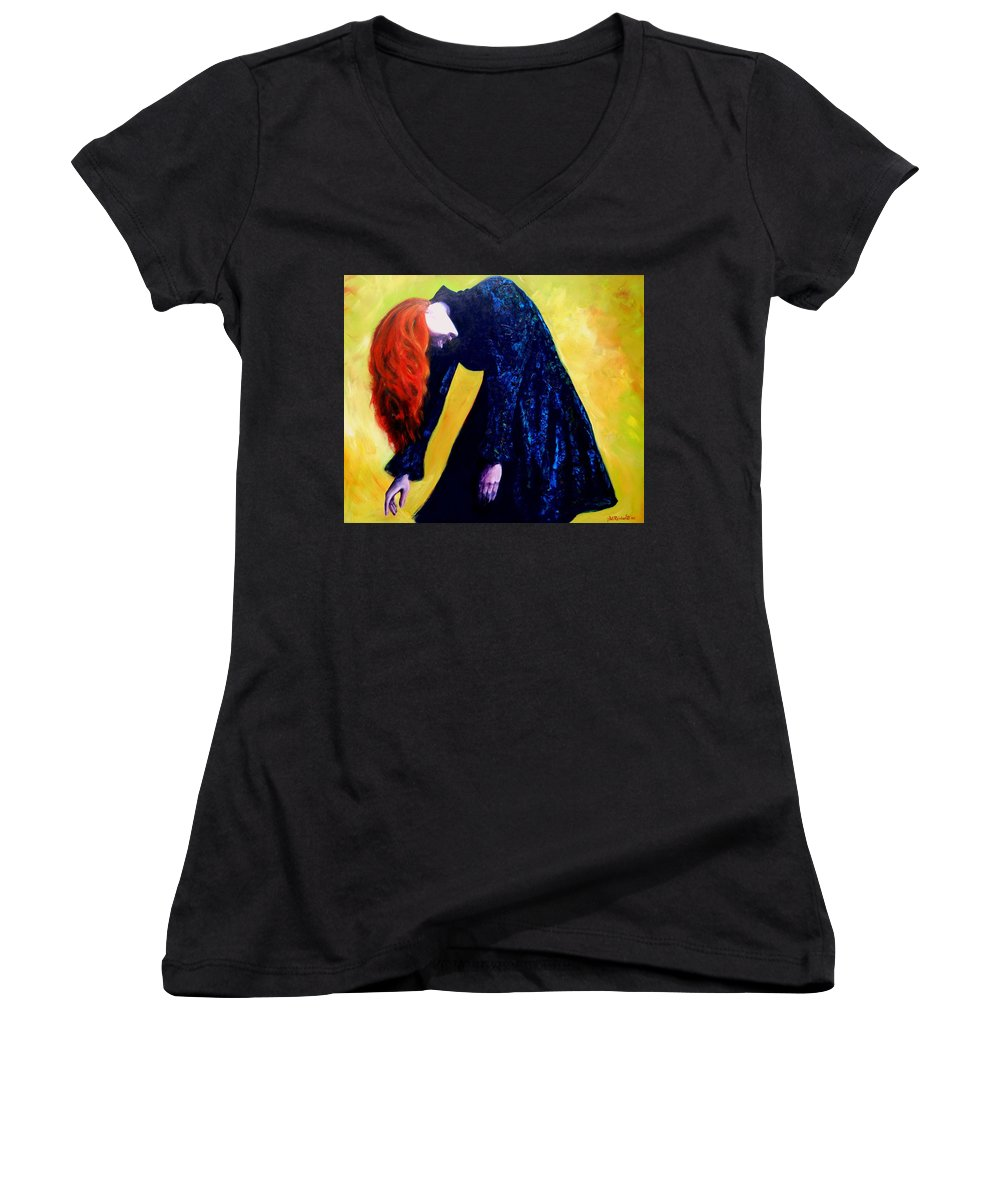 Acrylic Women's V-Neck (Athletic Fit) featuring the painting Wound Down by Jason Reinhardt