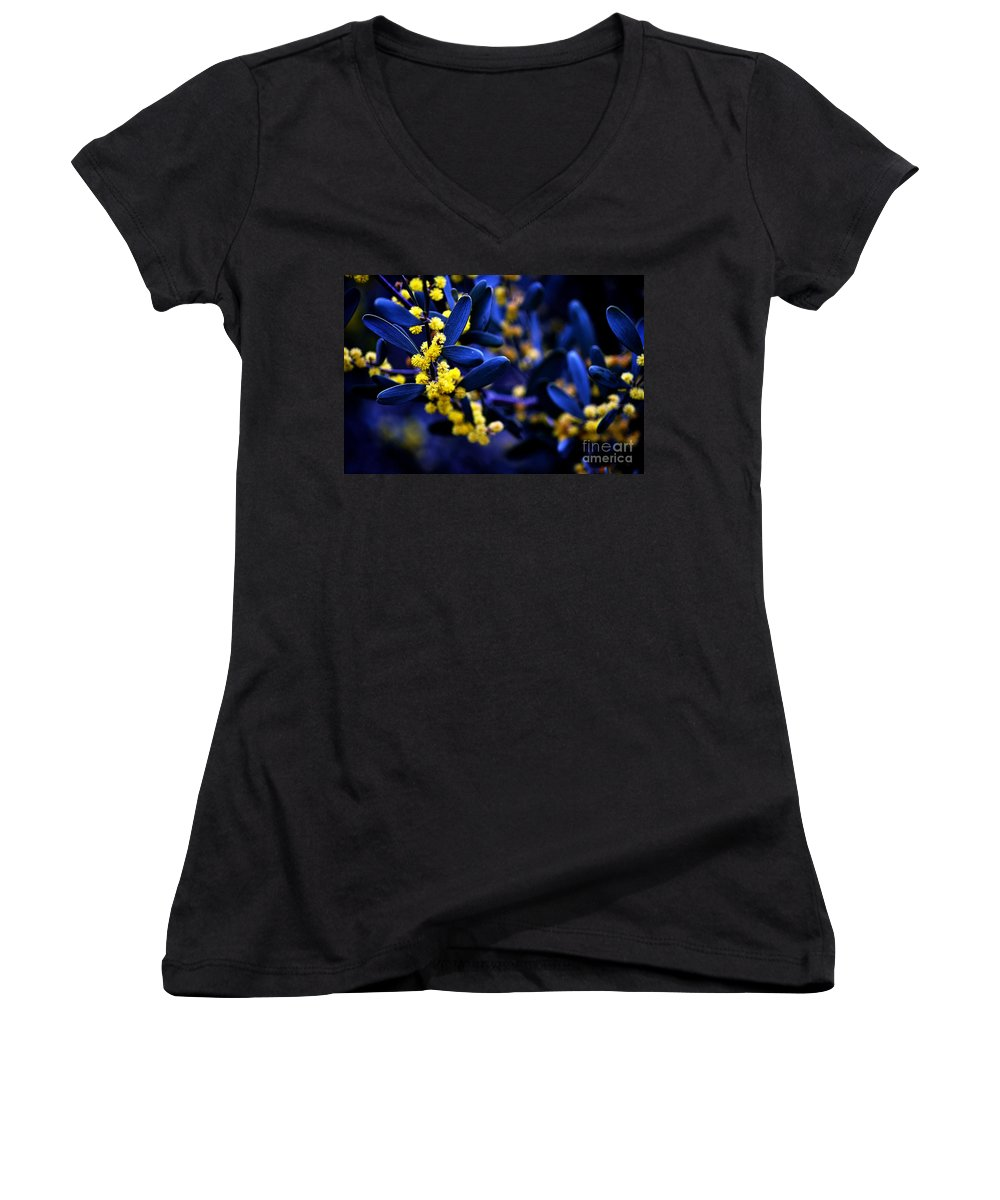 Clay Women's V-Neck T-Shirt featuring the photograph Yellow Bursts In Blue Field by Clayton Bruster