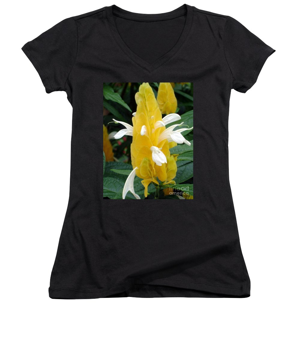 Flower Women's V-Neck (Athletic Fit) featuring the photograph Yellow Eruption by Shelley Jones