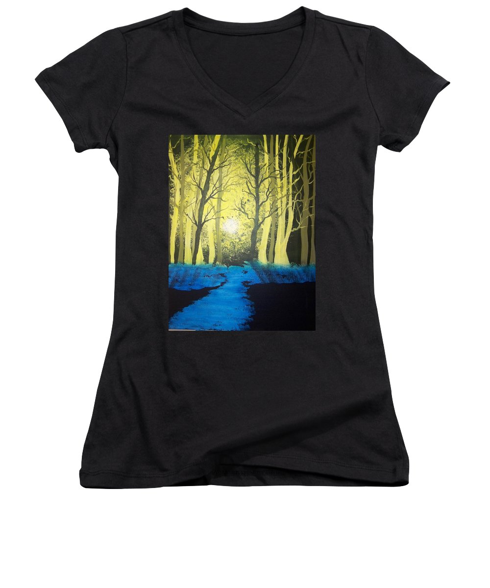 Forest Women's V-Neck (Athletic Fit) featuring the painting You Cant See The Forest For The Trees by Laurie Kidd