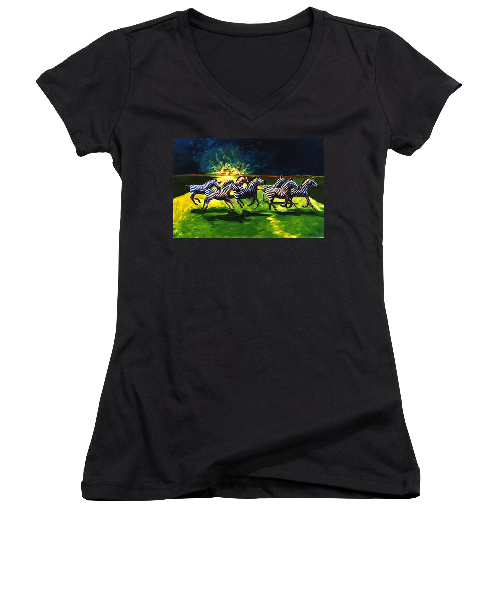 Modern Women's V-Neck (Athletic Fit) featuring the painting Zebz by Lance Headlee
