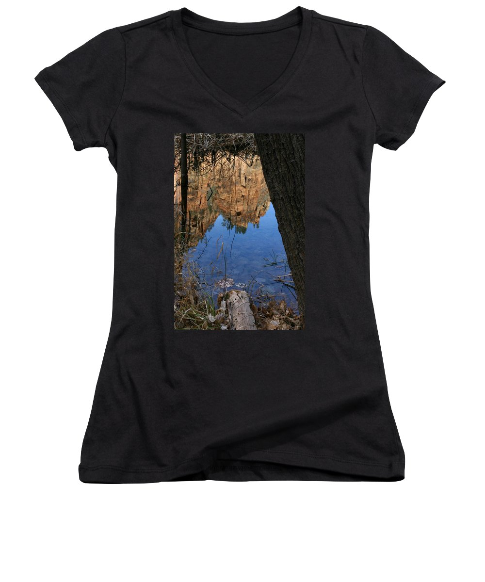 Zion Women's V-Neck T-Shirt featuring the photograph Zion Reflections by Nelson Strong