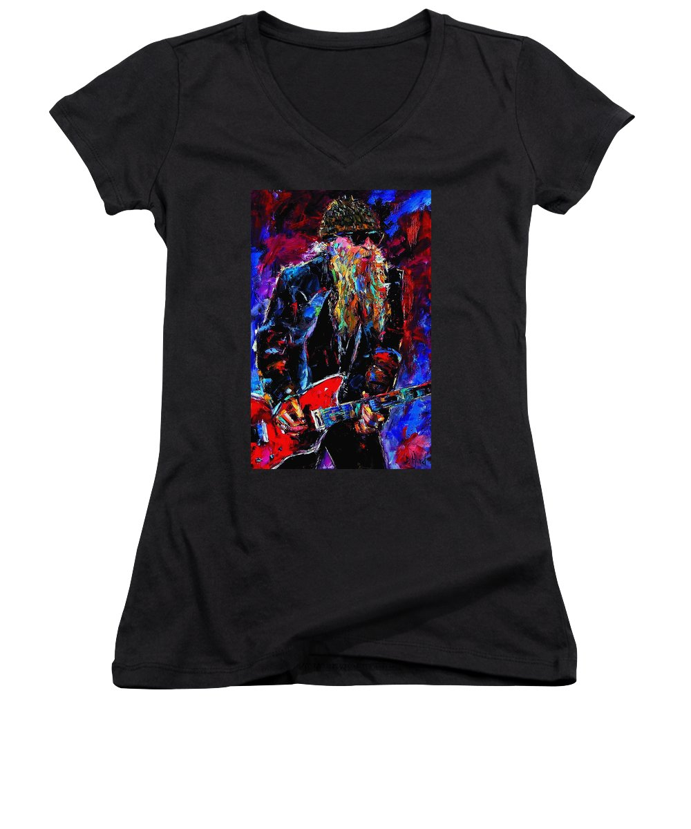 Music Women's V-Neck T-Shirt featuring the painting Zz Top Billie Gibbons by Debra Hurd