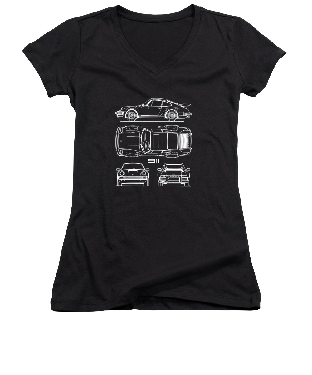 Porsche Women's V-Neck featuring the photograph The 911 Turbo Blueprint by Mark Rogan