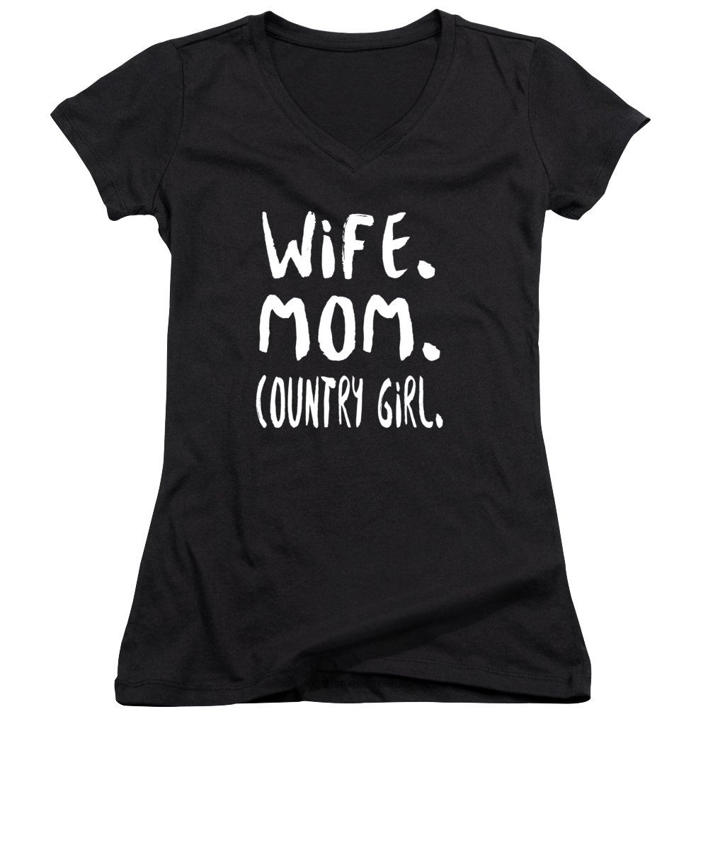 Mom Women's V-Neck featuring the digital art Wife Mom Country Girl by Passion Loft