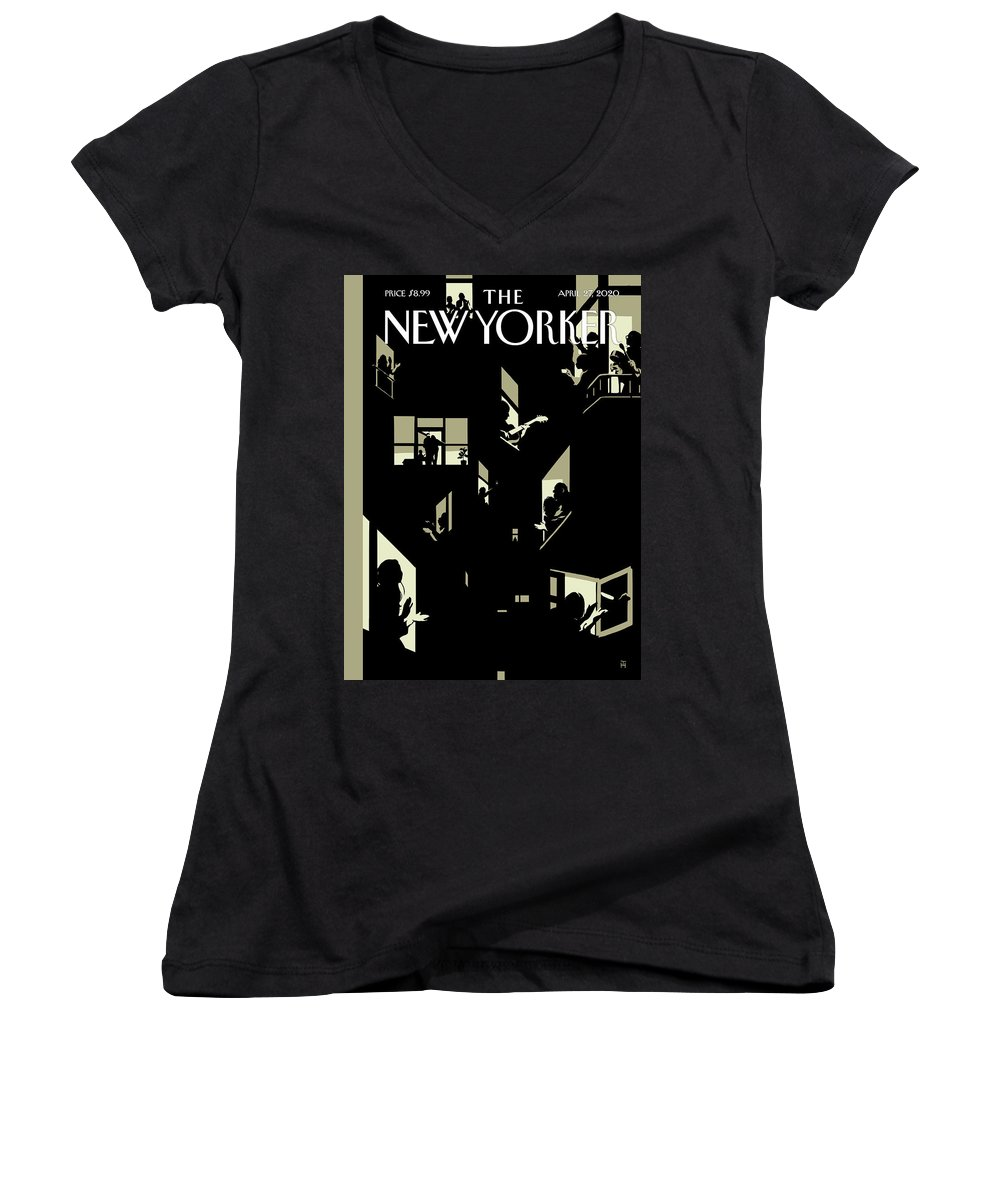 City Women's V-Neck featuring the digital art A Chorus Of Thanks by Tomer Hanuka