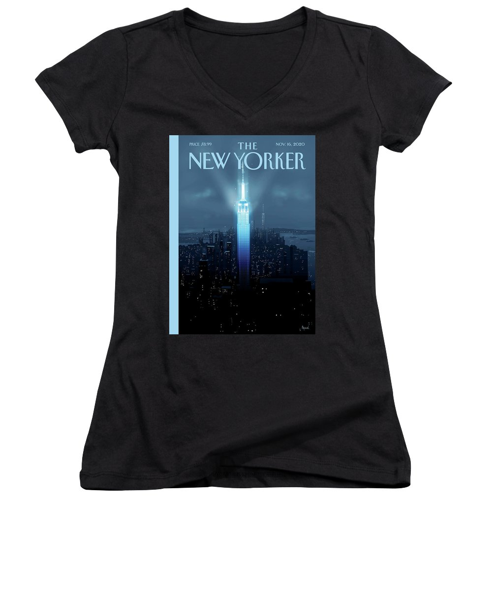 New York Women's V-Neck featuring the painting Hope Again by Pascal Campion