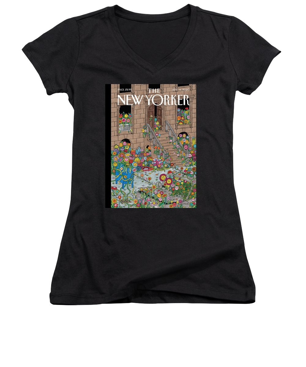 New York Women's V-Neck featuring the painting Overgrown by Edward Steed