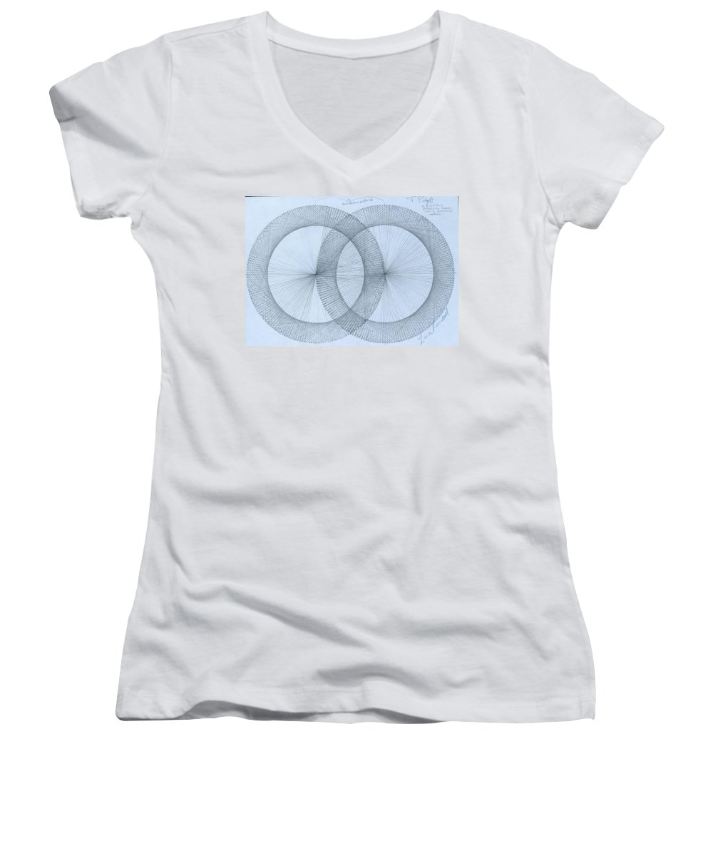 Fractal Women's V-Neck T-Shirt featuring the drawing Magnetism by Jason Padgett