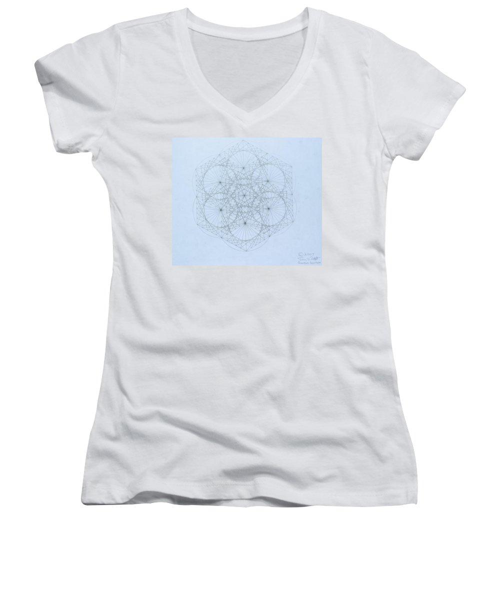 Jason Padgett Women's V-Neck T-Shirt featuring the drawing Quantum Snowflake by Jason Padgett