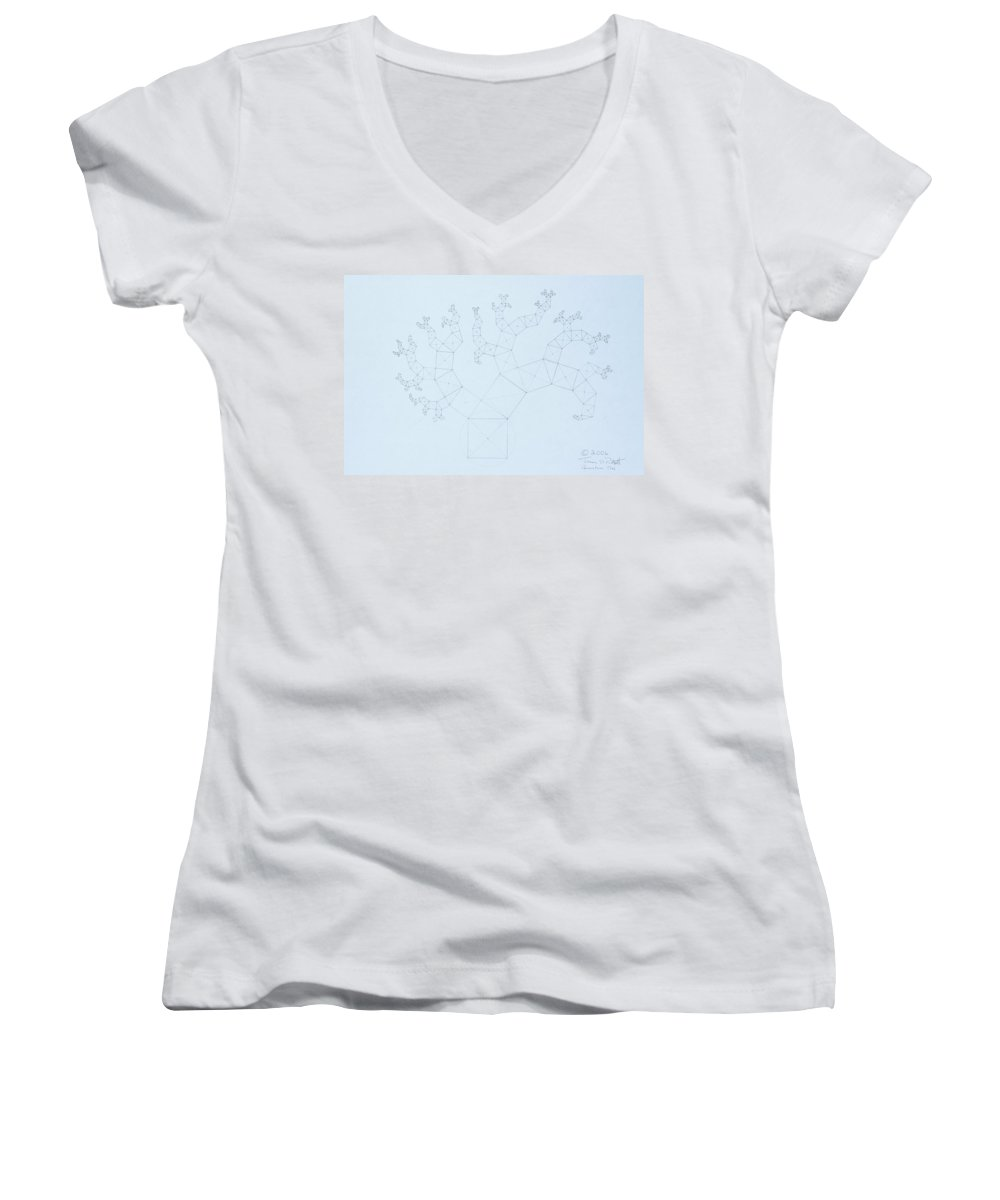 Fractal Tree Women's V-Neck (Athletic Fit) featuring the drawing Quantum Tree by Jason Padgett