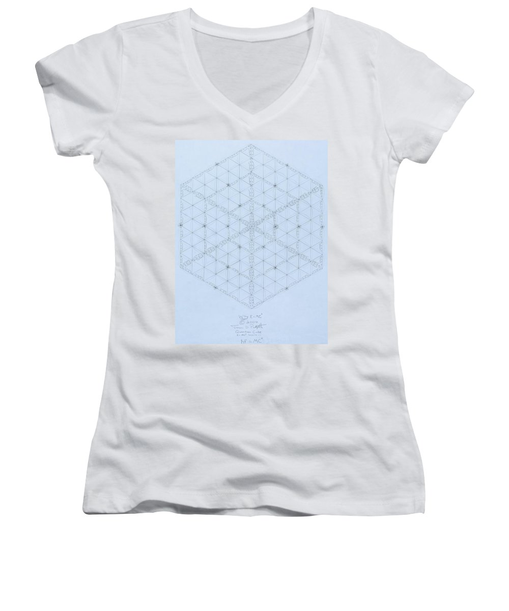 Energy Women's V-Neck (Athletic Fit) featuring the drawing Why Energy Equals Mass Times The Speed Of Light Squared by Jason Padgett