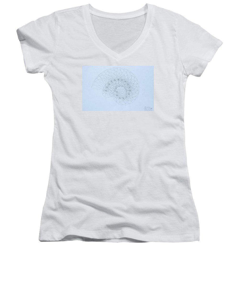 Jason Padgett Women's V-Neck T-Shirt featuring the drawing Quantum Nautilus by Jason Padgett