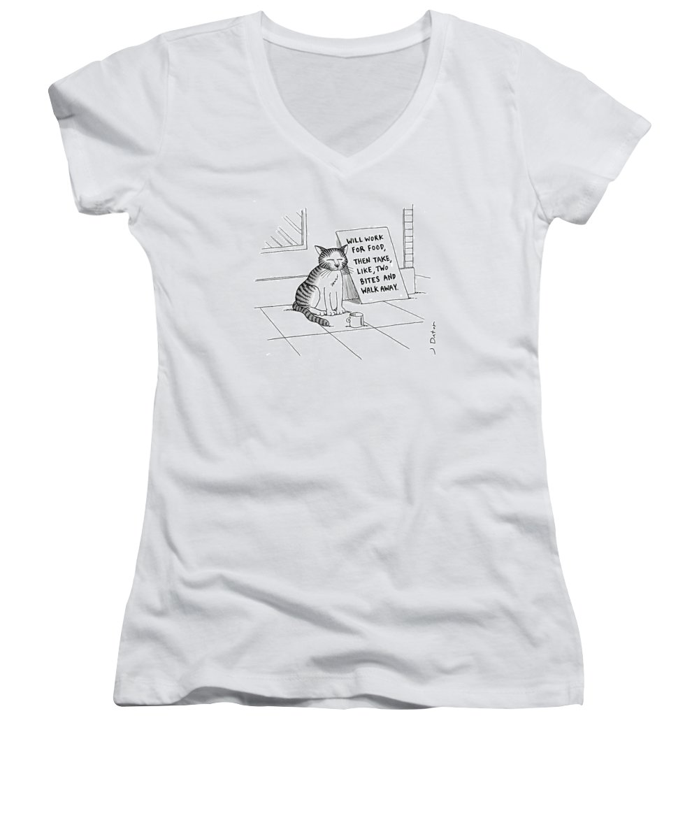 Cat On Street With Sign That Reads Women's V-Neck featuring the drawing New Yorker September 22nd, 2008 by Joe Dator