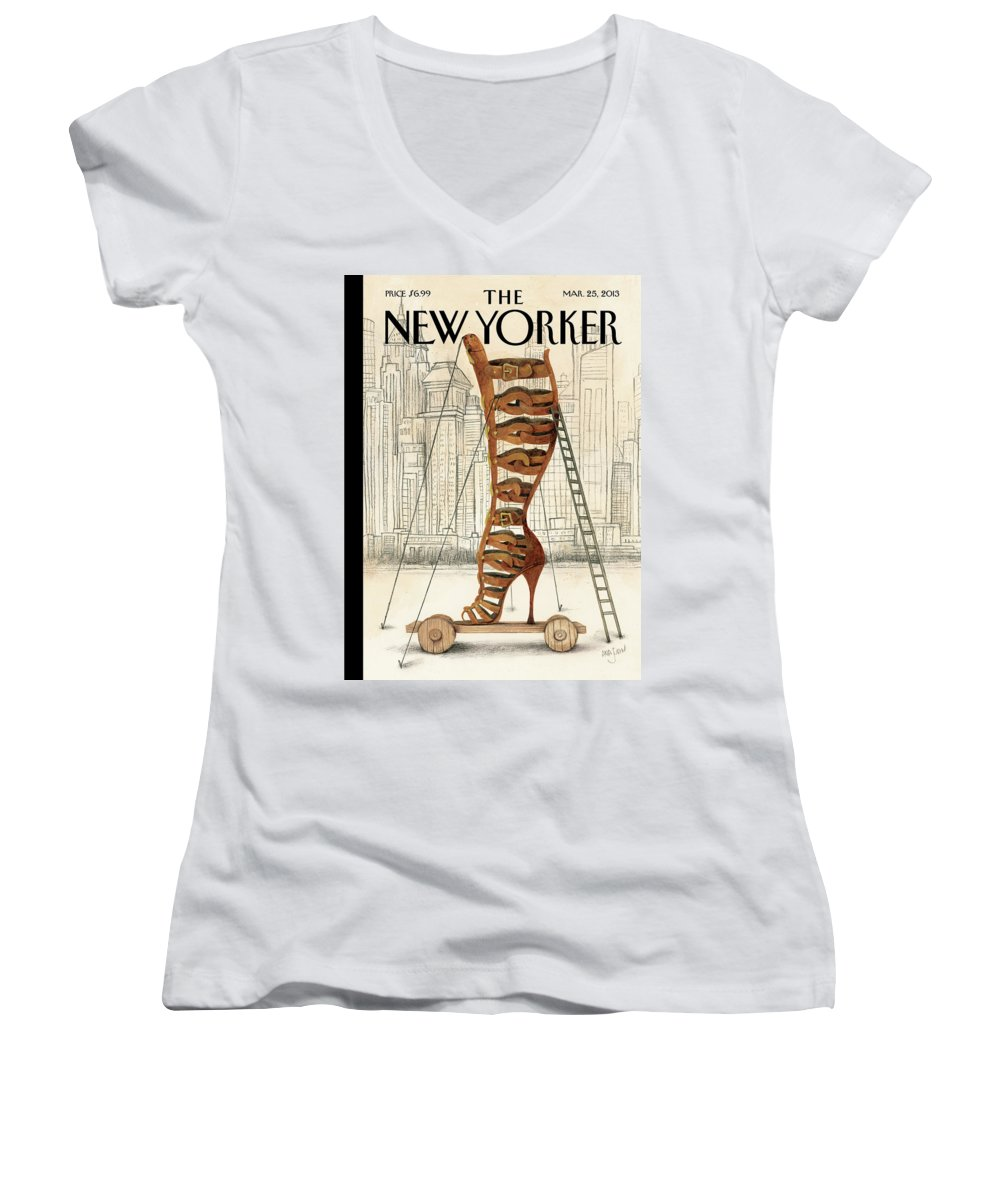 Fashion Women's V-Neck featuring the painting New Yorker March 25th, 2013 by Ana Juan