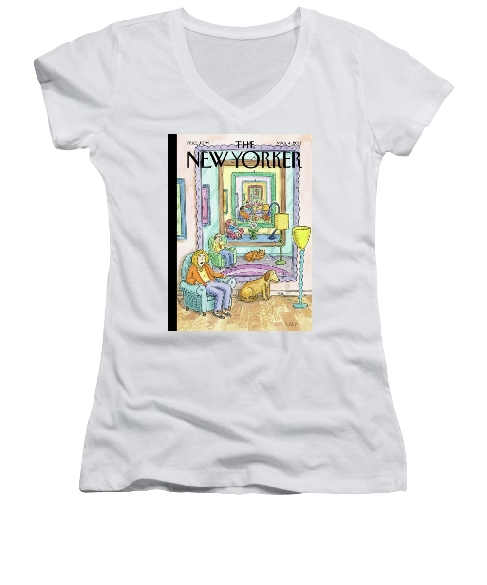 Dog Women's V-Neck featuring the painting New Yorker March 4th, 2013 by Roz Chast