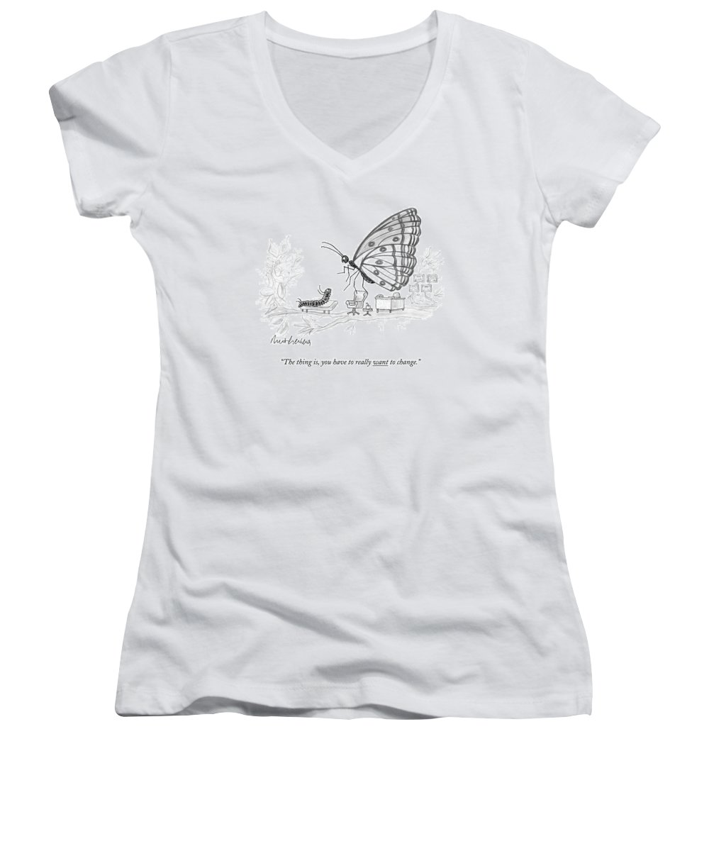 Pupate Women's V-Neck featuring the drawing A Butterfly Speaks To A Caterpillar by Mort Gerberg