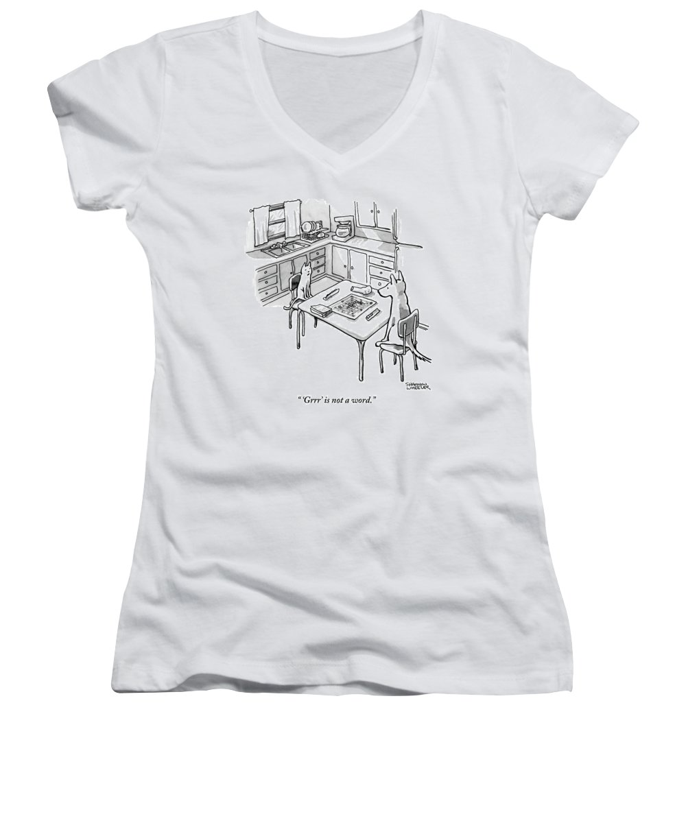 'grrr' Is Not A Word. Women's V-Neck featuring the drawing A Cat And Dog Play Scrabble In A Kitchen. 'grrr' by Shannon Wheeler