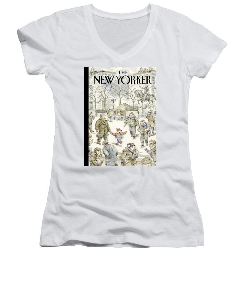 Child Women's V-Neck featuring the painting Winter Delight by John Cuneo