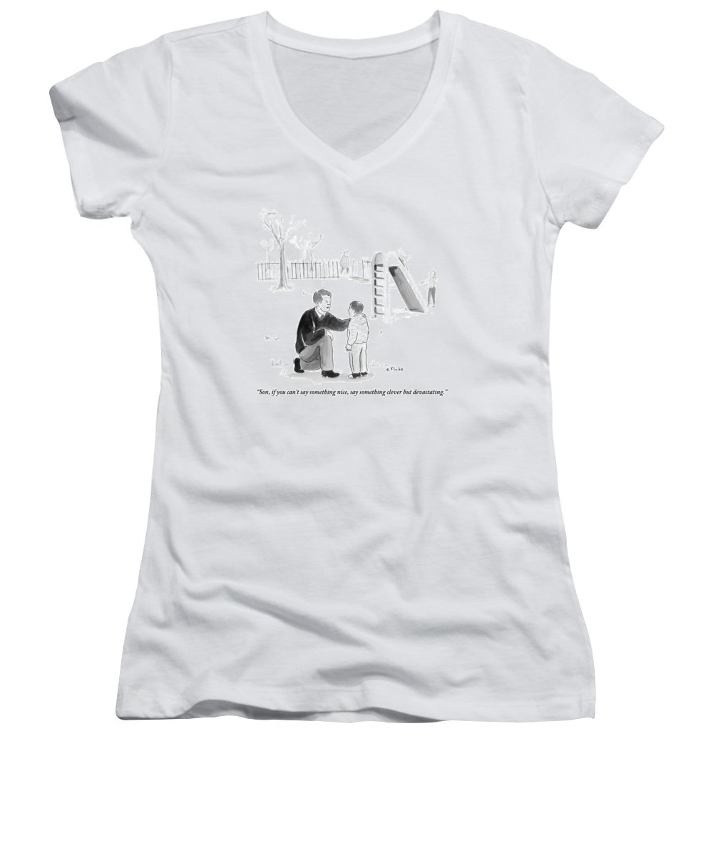Advice Women's V-Neck featuring the drawing A Father Encourages His Son At The Playground by Emily Flake
