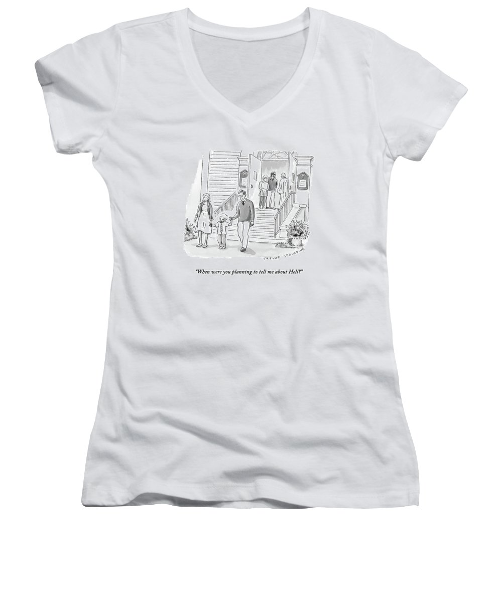 Church Women's V-Neck featuring the drawing A Little Boy Speaks To His Parents by Trevor Spaulding