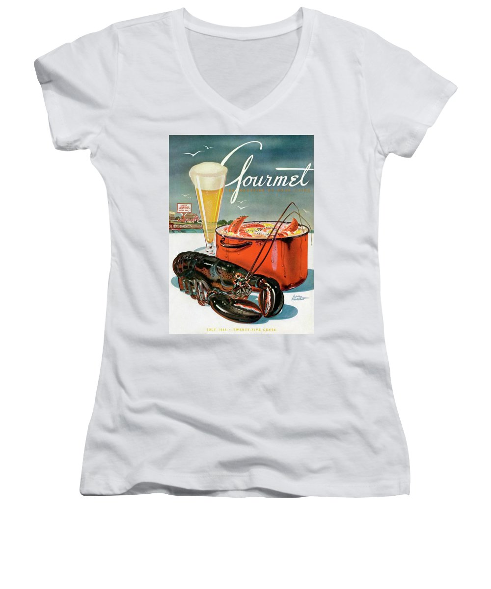 Illustration Women's V-Neck featuring the photograph A Lobster And A Lobster Pot With Beer by Henry Stahlhut