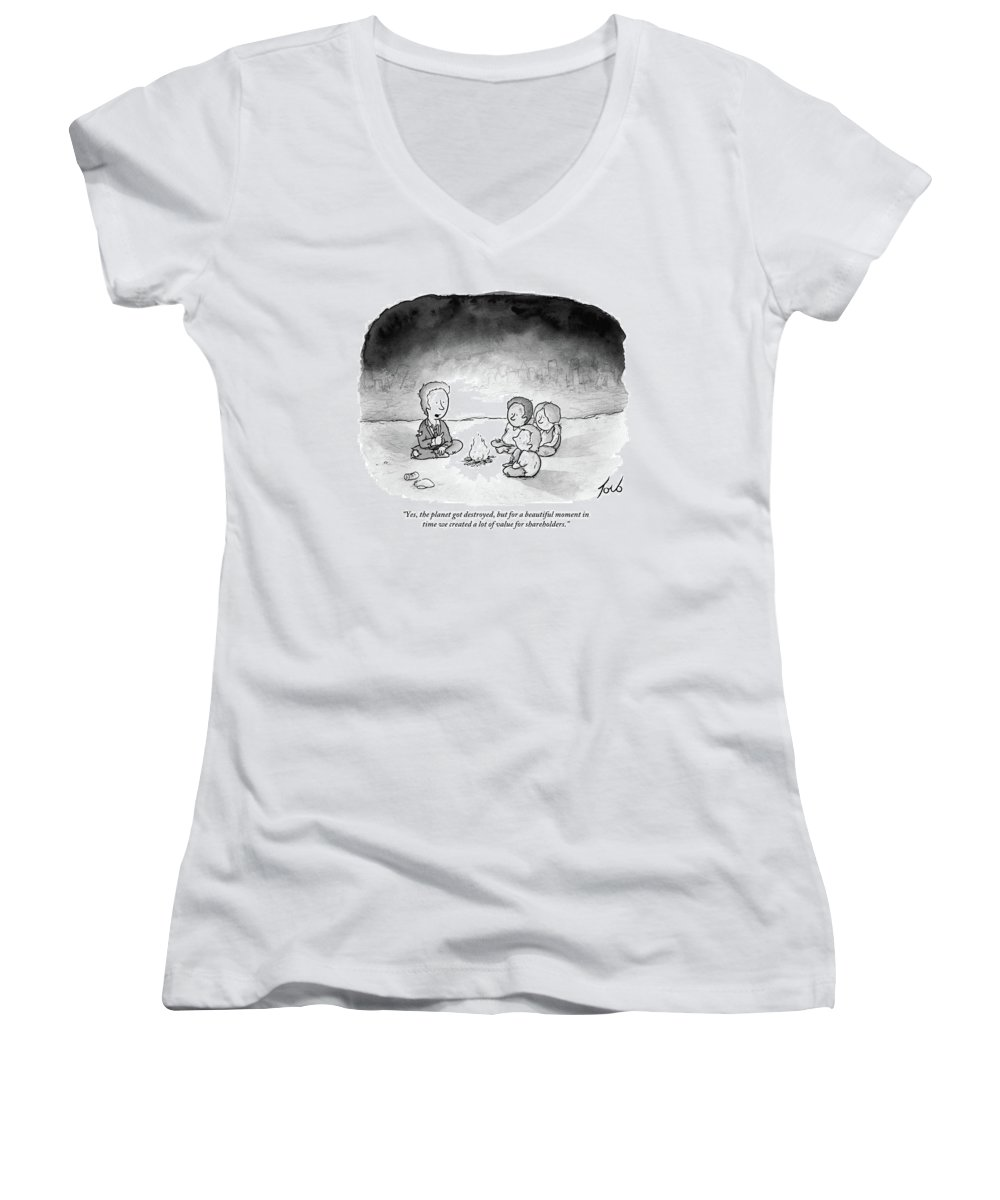 Yes Women's V-Neck featuring the drawing A Man And 3 Children Sit Around A Fire by Tom Toro